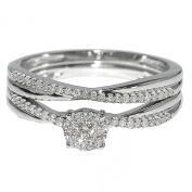 10K White Gold Engagement Ring and Band Set 0.25cttw Diamonds