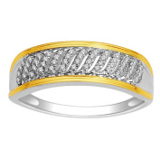 10K White Gold Wedding Band Ring 0.1cttw Diamonds With Yellow Gold Tone Two Tone