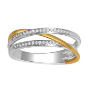 10K Gold Two Tone Fashion Ring 0.15cttw Diamonds 5.1mm Wide Criss Cross