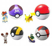 Ziangluke® Pokémon XY Master ball/ Time Ball Poké Ball + Keldeo/ Tornadus/ Kyurem/ Pikachu Action Figures 4 Sets
