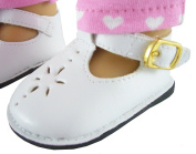 White T-Strap Shoes for 46cm American Girl Dolls Doll Accessories