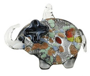 Black and Clear Glass Elephant Necklace With Inner Colour Specks