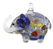 Blue Coloured Glass Elephant Necklace With Inner Colour Specks