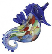 Blue Coloured Glass Seahorse Necklace w/Seashell Design Inside