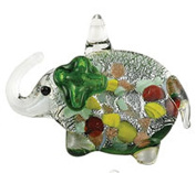 Clear and Green Glass Elephant Necklace With Inner Colour Specks