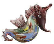 Dark To Light Purple Fade Glass Seahorse Necklace w/Seashell Design Inside