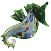 Green Coloured Glass Seahorse Necklace w/Seashell Design Inside
