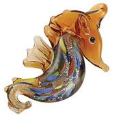 Light Copper Coloured Glass Seahorse Necklace w/Seashell Design Inside