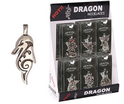 Pewter Dragon Bust Necklace