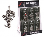 Pewter Dragon Wrapped Around a Cross Necklace