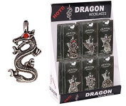 Serpent Pewter Dragon Necklace With Red Rhinestone Eye