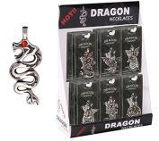 Snake-Like Pewter Dragon Necklace With Red Rhinestone Eye