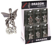 Winged Pewter Dragon Clenching a Pentagram Necklace
