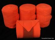 D.A. Brand Set of 4 Deluxe Neon Orange Soft Fleece Polo Leg Wraps Horse Tack