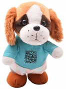 Happy Cherry Electric Leash Dog Plush Teddy Toy Music Robot Dog Remote Children's Toys Electronic Pet Dog Walking Parrot Recording with Green Clothes with Blue Clothes - Yellow Ears