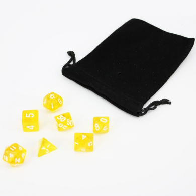 7 Die Transparent Polyhedral Dice Set with Portable Velvet Pouch for Table Game - Yellow