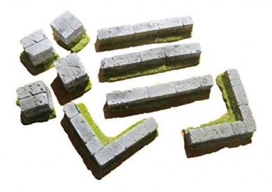28mm scale Terrain: Square Stone Wall Assortment