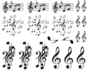 Musical Notes - Black 15CC545 Fused Glass Decals