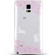 Note 4 Case, NSSTAR Galaxy Note 4 Case, [Perfect Fit] Soft TPU Crystal Clear [Scratch Resistant] Pink Flower Floral Cherry Blossom Running Rabbit Back Case Cover for Samsung Galaxy Note 4