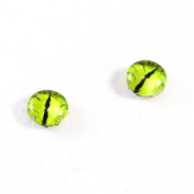 8mm Dragon Glass Eyes Pair of Lime Green Fantasy Crafting Supply Flatback Cabochons for Doll Taxidermy or Jewellery Making