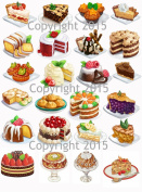 Vintage Cakes and Pies Collage Sheet #101 Art Images for Decoupage, Scrapbooking, Jewellery Making