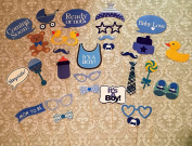 Baby Shower Photo Booth props, 29 pcs attached to the stick, NO DIY REQUIRED its a boy, baby shower decoration, party photo booth