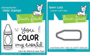 Lawn Fawn Colour My World Clear Stamp and Die Set - Includes One Each of LF793 (Stamp) & LF903 (Die) - Bundle Of 2