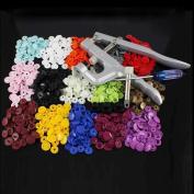 Yontree 1 Set KAM Snap Press Plier Botton Fastener Kit & 150 Sets T5 Snap Resin Snap Hand Tool for Cloth Nappies Clothing