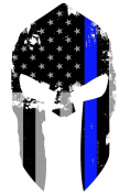 Tattered 13cm x 10cm Subdued Us Flag Molon Labe Spartan Helmet Reflective Decal with Thin Blue Line