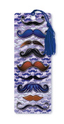 Dimension 9 3D Lenticular Bookmark with Tassel, Moustaches on Purple Background