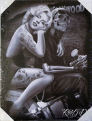 DGA Day of the Dead Marilyn Monroe Ride or Die Biker Stretched Wood Frame Canvas Wall Art 30cm x 41cm - Hollywood Homegirl