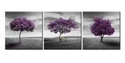 Canvas Print Wall Art Painting For Home Decor Green Lawn Landscape Meadow Purple Tree On Green Field With Wood Park Bench In Black And White Vintage Style 3 Pieces Panel Paintings Modern Giclee Stretched And Framed Artwork The Picture For Living Room D ..