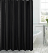 CHI Creative Home Ideas Jane Faux Silk Shower Curtain with Metal Roller Hooks, 180cm by 180cm , Black