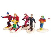 1999 Winter Fun Set of 5 Skiing Christmas Village Figurines