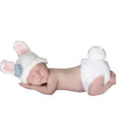 BubuBibi® Photography Prop Blue Easter Bunny Rabbit Crochet Costume Hat & Nappy