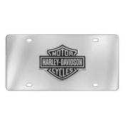 Harley-Davidson Licence Plate, Black Bar & Shield Emblem, Chrome HDLPD14