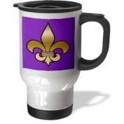 3dRose Large Gold Fleur De Lis on a Dark Purple Background Travel Mug, 410ml