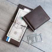 Personalised Brown Leather Wallet with Money Clip and Multi-function Tool