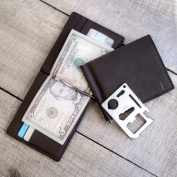 Personalised Black Leather Wallet with Money Clip and Multi-function Tool