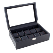 Caddy Bay Collection Black Carbon Fibre Pattern Watch Display Case