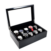 Caddy Bay Collection Gloss Black Glass Top 10-Watch Case