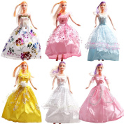 Rainbow Lot 6 P 6x Fashion Handmade Clothes Dresses Grows Outfit for Barbie Doll