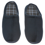 Men's Memory Foam Slippers - Best indoor and Outdoor Vamp with Chequered Lining House Shoes - Blue