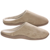 Men's Memory Foam Slippers - Best Indoor or Outdoor Fleece House Shoes with Side Stitches for Men Beige