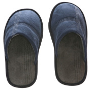 Men's Memory Foam Slippers - Best Indoor or Outdoor House Shoes with Side Stitch Embroidery - Blue