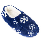 Leisureland Men's Fleece Lined Cosy Slippers Snowflakes