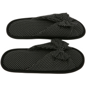 Women's Memory Foam Slippers - Best Dotted House Shoes with Butterfly Ties for Indoor or Outdoor - Black