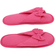 Women's Memory Foam Slippers - Best Dotted House Shoes with Butterfly Ties for Indoor or Outdoor - Pink