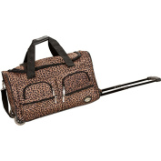 Rockland Deluxe Leopard 60cm Carry-on Rolling Duffle Bag