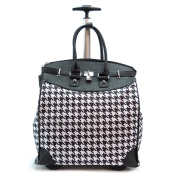 Classic Black Houndstooth Foldable Rolling Carry-on 36cm Laptop/ Tablet Tote Bag